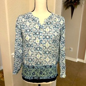Loft navy blue flower print long sleeve top XXSP